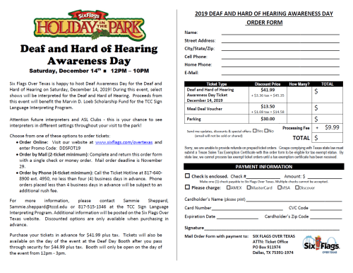 Six Flags Deaf Awareness Day at Holiday in the Park 12/14/19