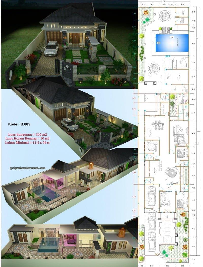 Desain Rumah Dengan Kolam Renang : desain, rumah, dengan, kolam, renang, Ragam, Desain, Denah, Rumah, Minimalis, Modern, Lantai, Kolam, Renang, Terpopuler, Harus, Deagam, Design