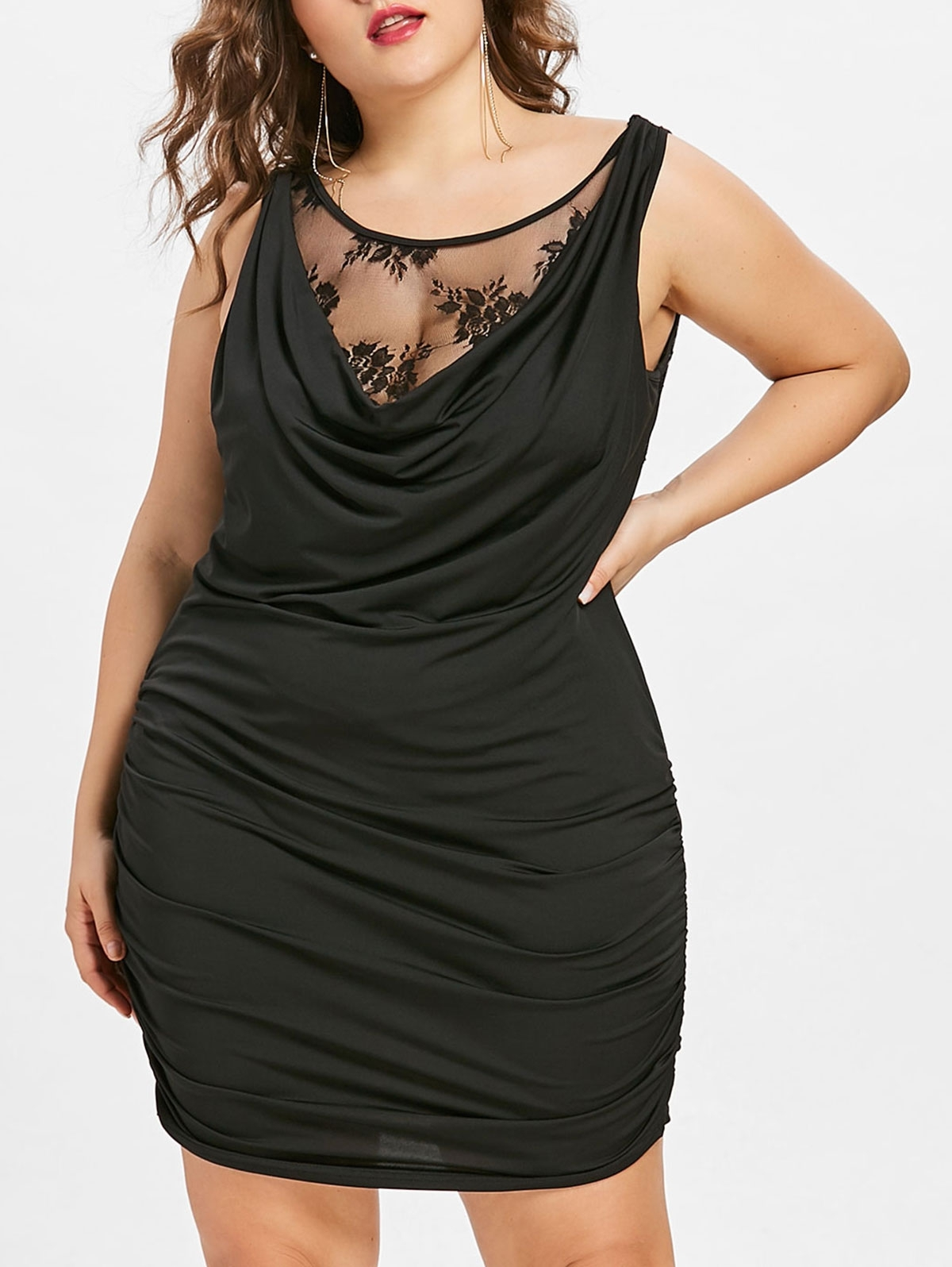 Black Draped Club Dress