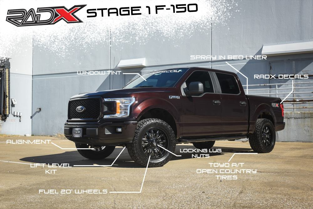 medium resolution of 2018 ford f 150 lift level packages with wheels and tires for 4x4 aftermarket truck
