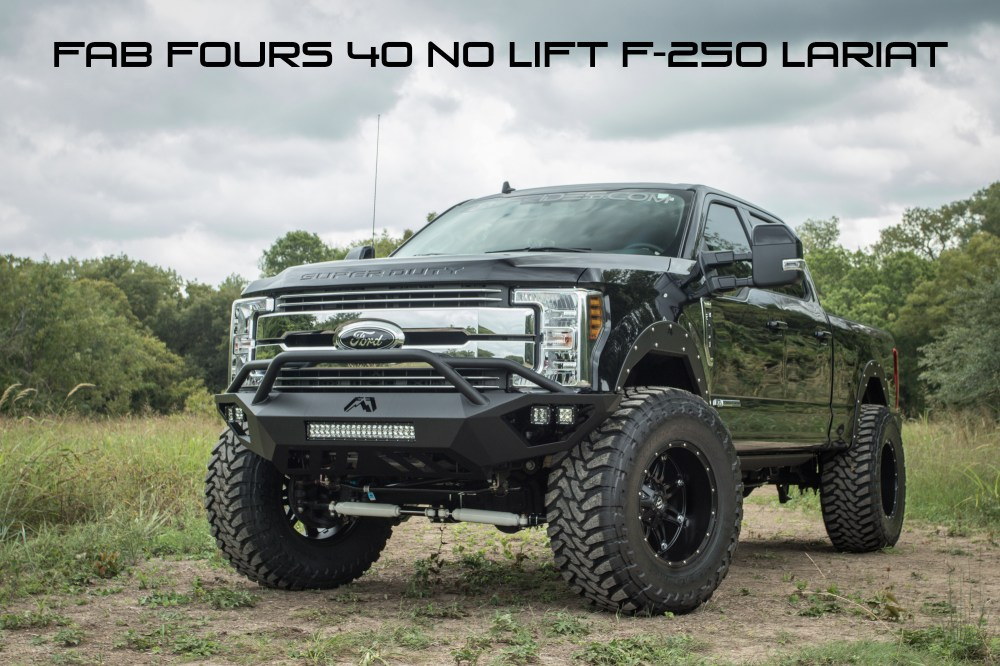 medium resolution of 2018 ford f 250 lariat with fab fours 40 inch tire no lift open fender