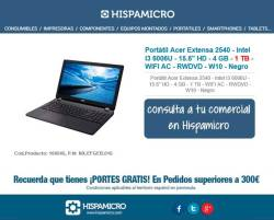 "Portátil Acer Extensa 2540 - Intel I3 6006U - 15.6"" HD - 4 GB - 1 TB - WIFI AC - RWDVD - W10 - Negro"