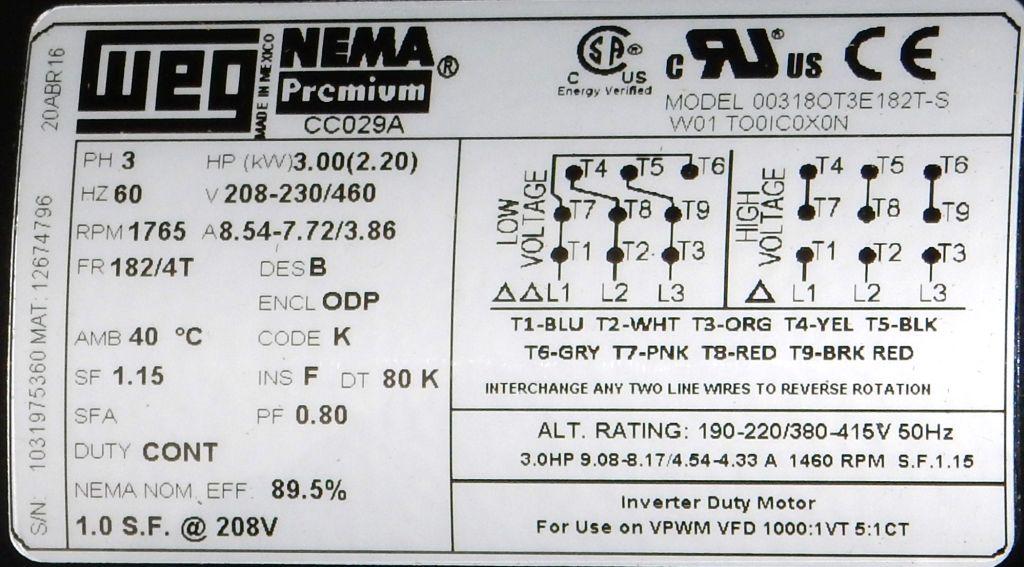 weg fire pump motor wiring diagram goodman air handler 00318ot3e182t s 3 hp odp factory new at dealers industrial