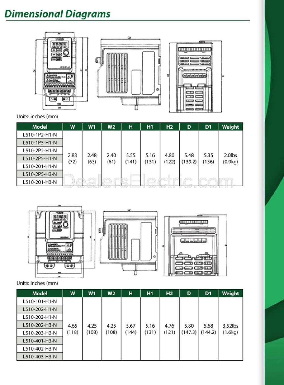 medium resolution of  l510 202 h1 n l510dimension teco westinghouse ac vfds