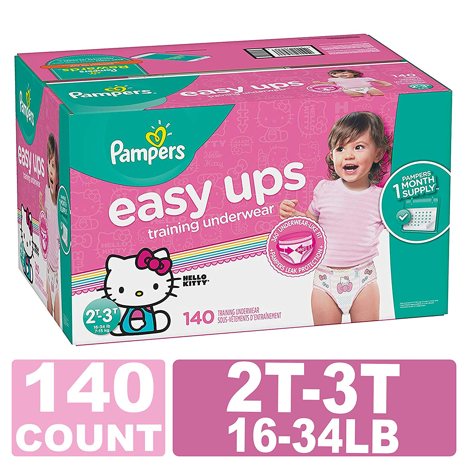 Pampers Easy Ups Training Pants Pull On Disposable Diapers for Girls, Size 4 (2T-3T), 140 Count, ONE Month Supply at $31.55!