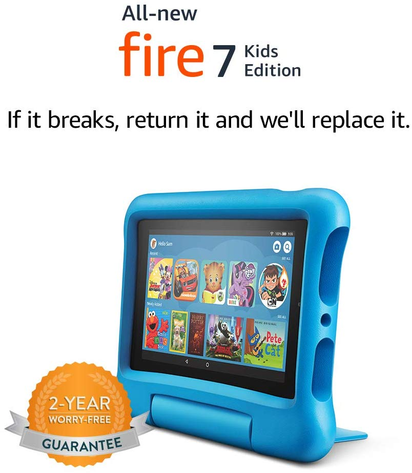 All-New Fire 7 Kids Edition Tablet, Plus Blue Kid-Proof Case only $59.99! (save $40)