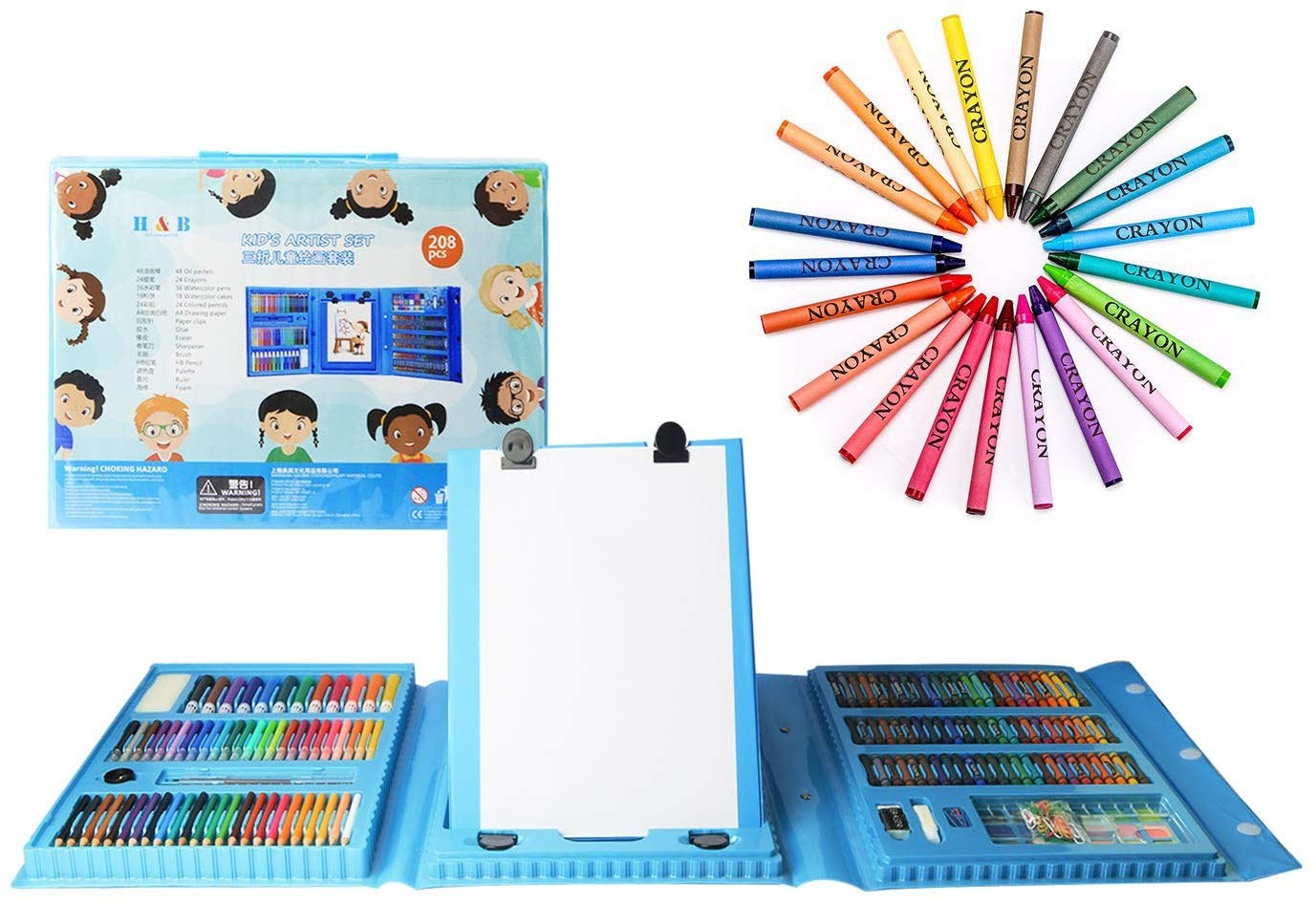 H & B Kids Art Supplies 208-Piece Painting & Drawing Case only $10.31! (55% off)