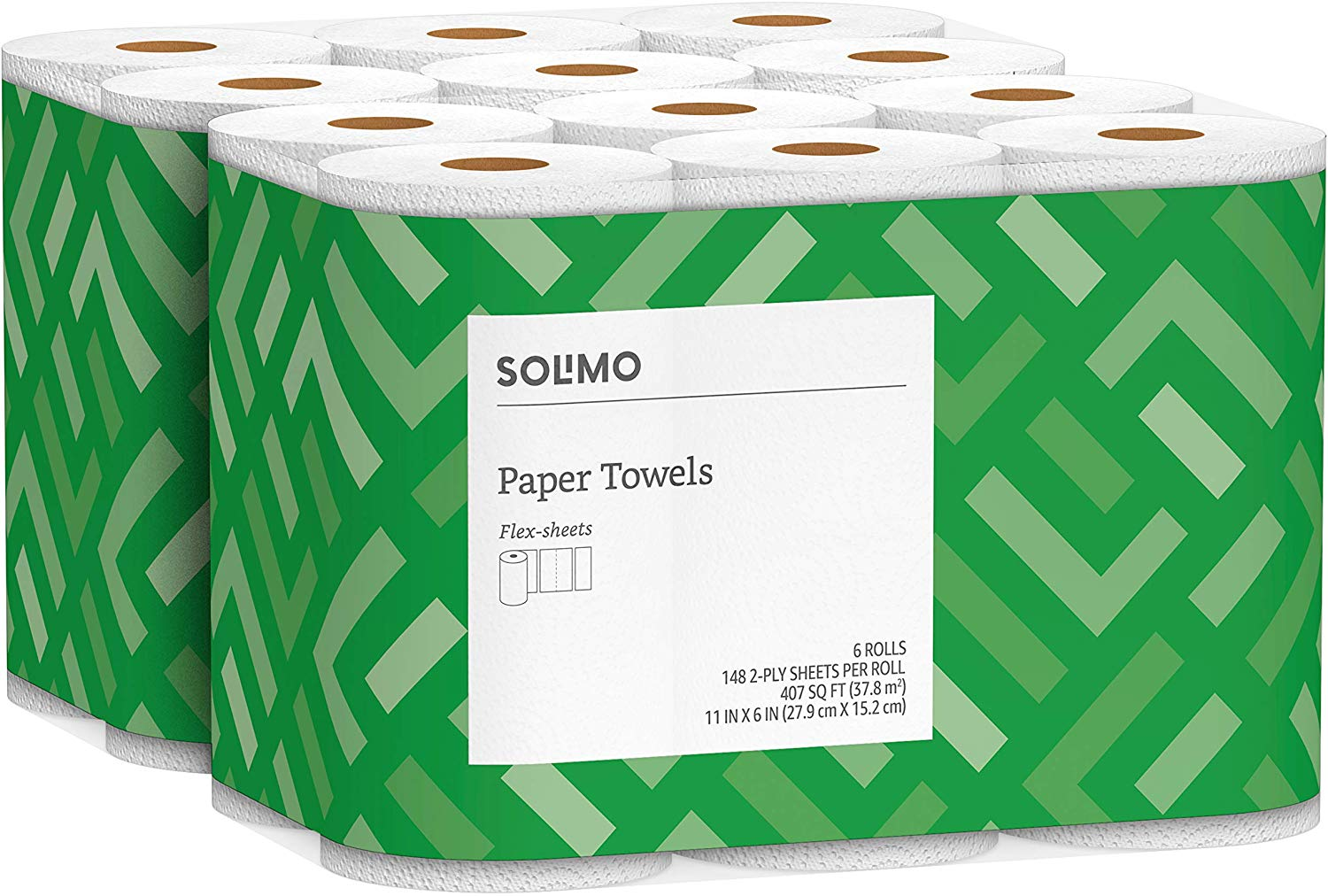 Solimo Basic Flex-Sheets Paper Towels, 12 Value Rolls only $13.99 with coupon! (was $19.99)