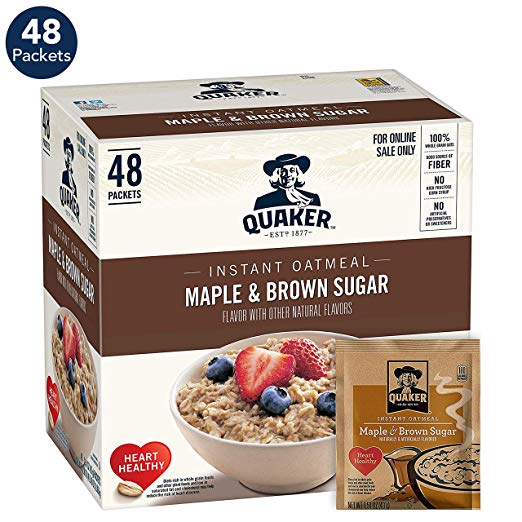 48 Pack Quaker Instant Oatmeal, Maple & Brown Sugar only $6.82!