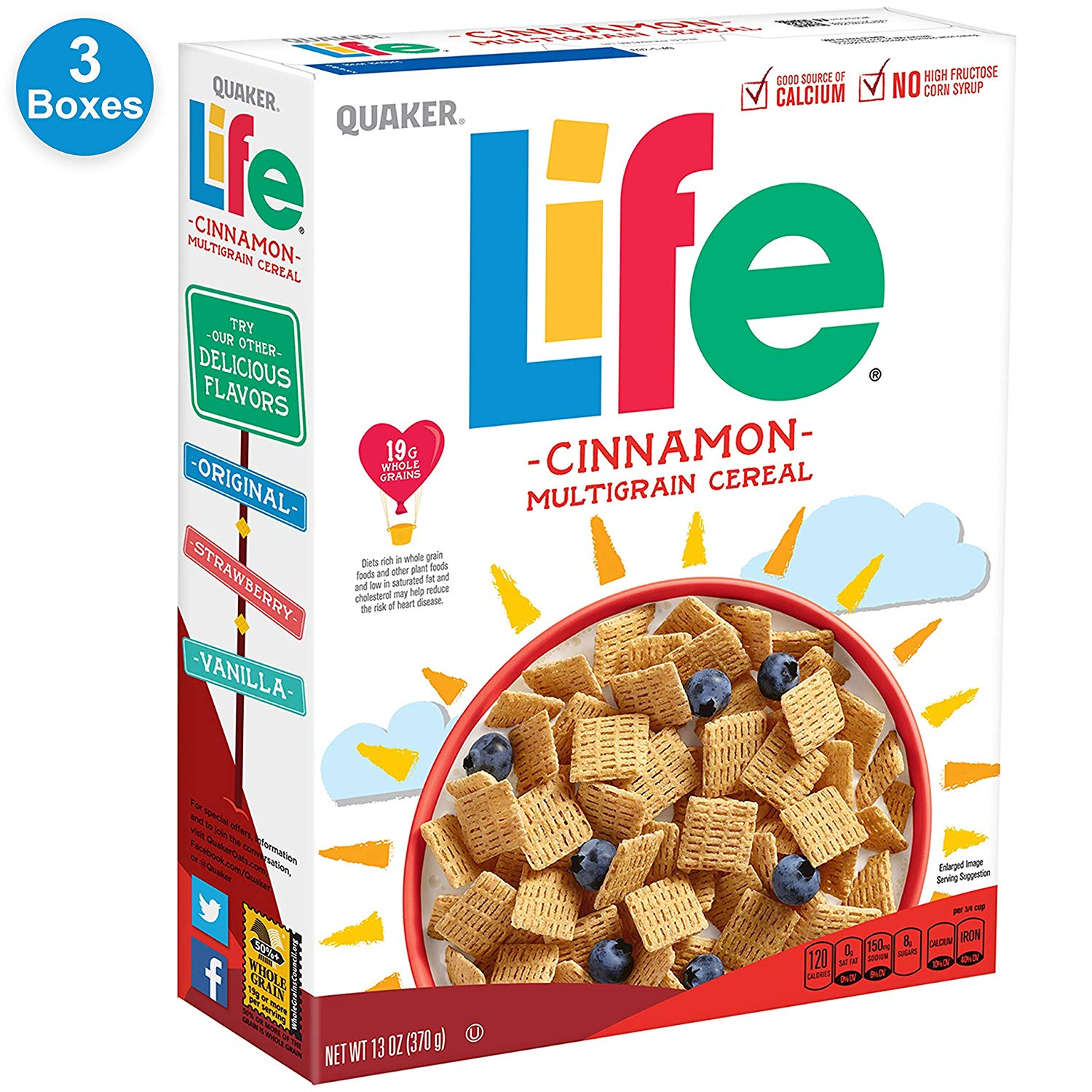 3 Boxes Quaker Life Cinnamon Cereal only $4.58 with coupon!