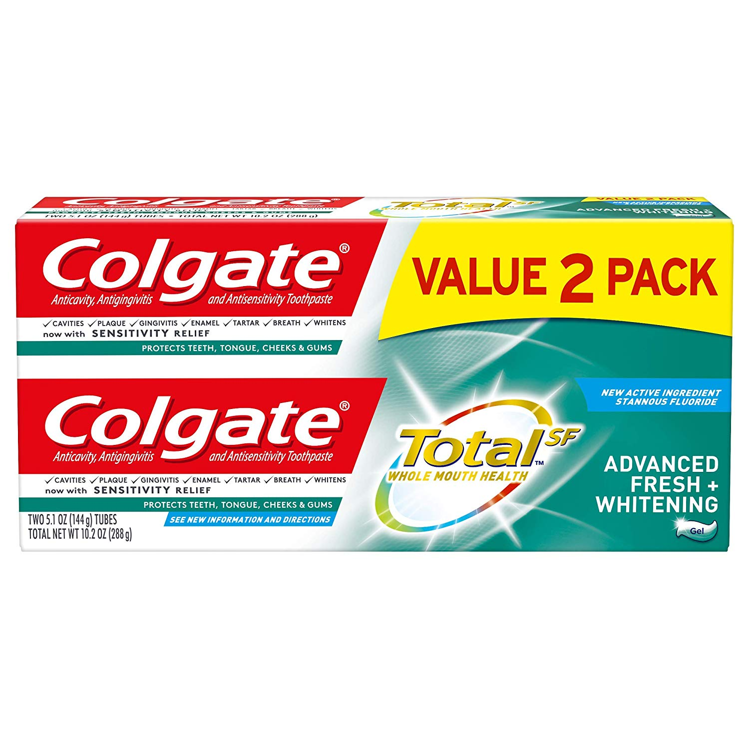 2 Pack Colgate Total Whitening Toothpaste + Whitening Gel only $3.26! (was $9.34)