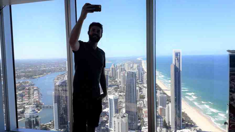 Photo of me taking a selfie at the observation deck of the Q1 Tower, Melbourne