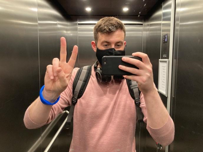 Selfie in the elevator after completing my door checking OCD compulsion.