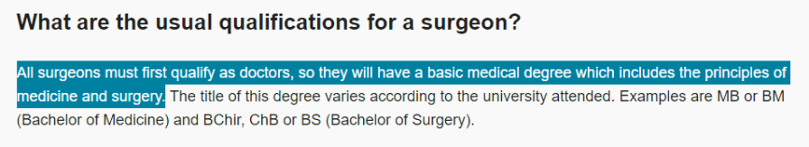 Quote from the RCSENG, stating that all surgeons must qualify as doctors