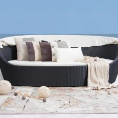 Canopy Daybed Outdoor Wicker Sun Sofa Lounge Sure Fit Stretch Leather 2 Piece T Slipcover Brown Lavita Furniture
