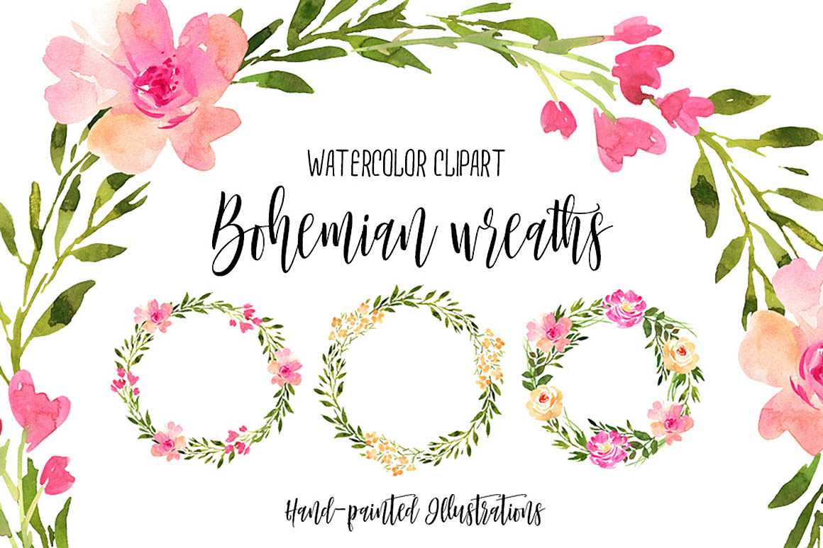 FreeWatercolorBohemianWreaths1