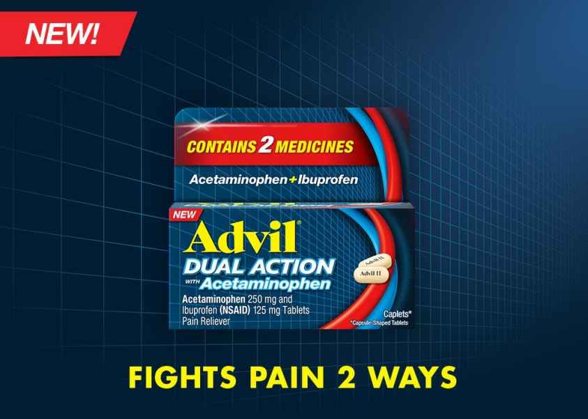 Advil Dual Action Caplets, Ibuprofen with Acetaminophen, 18 Pain Relief Capsule-Shaped Tablets. Fights Pain 2 Ways.