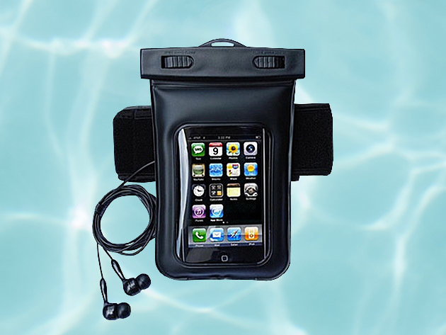 Waterproof Smartphone Bag With Music Out Jack + Waterproof Headphones for $28