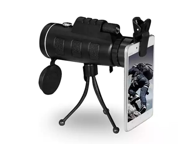 Zoomable 60X Monocular with Smartphone Attachment for $37
