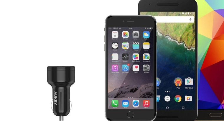 Aukey CC-T11 42W 3-Port Car Charger with Quick Charge 3.0 Port & AiPower 2 Port