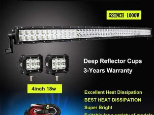 52INCH 1000W Curved LED COMBO beam Light Bar+4″ 18W FLOOD  Work Lamps 4WD SUV