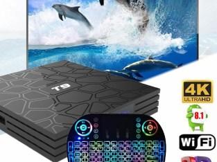 T9 Smart TV BOX Quad Core 4GB+32GB 4K H.265 Full HD 1080P+Free Backlit Keyboard
