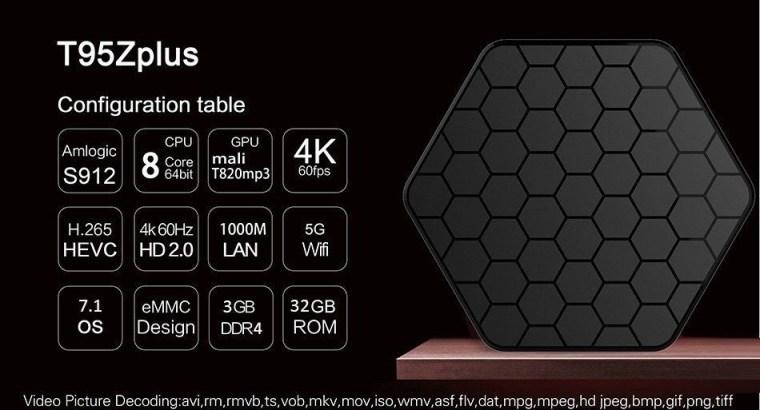 Smart TV Box T95Z Plus Android 7.1 S912 Octa Core 3+32GB 4K Media Player+Free Back-lit Keyboard