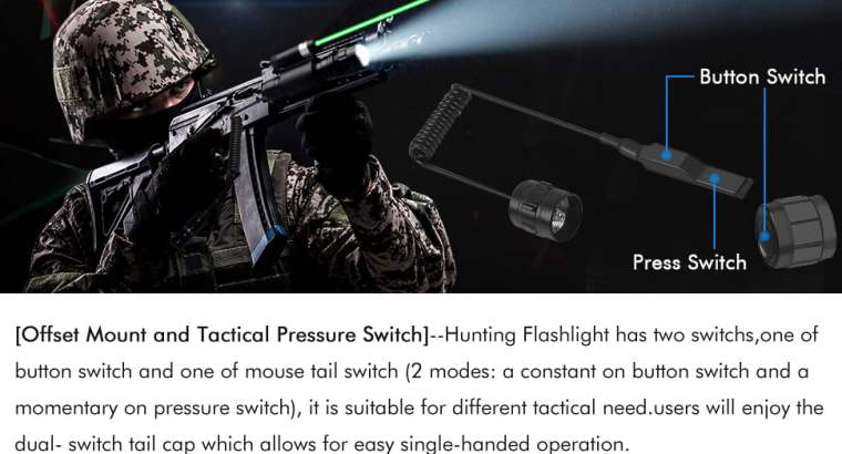 Green Laser Sight Tactical Flashlight with 600Lm