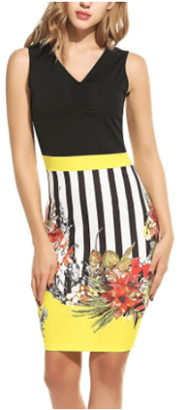 Women's Floral Printed Wear to Work Business Bodycon Pencil Dress at Amaz Yellow