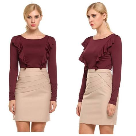 4d0208a7239 Women s Vintage Round Neck Long Sleeve Ruffles Mini Casual Tunic Top Shirt