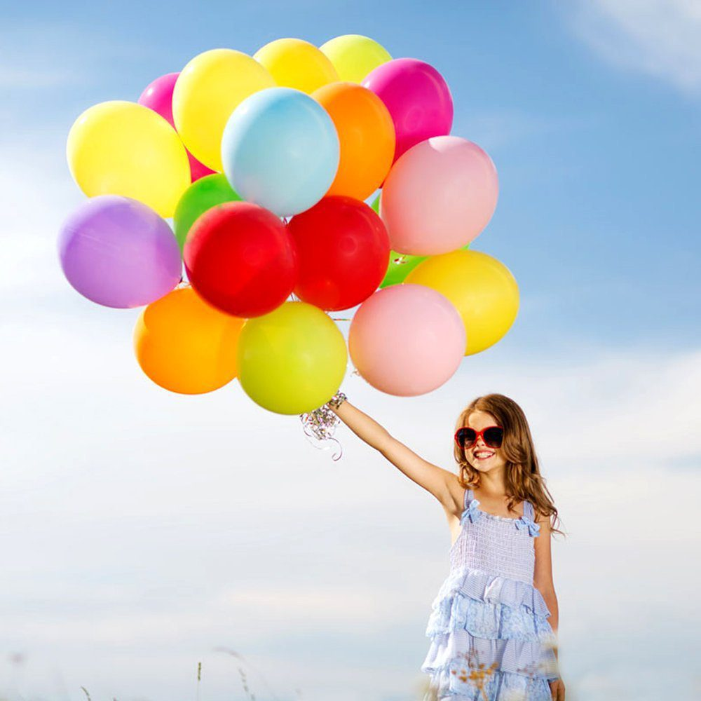 100pcs Party Balloons Assorted Colors with Hand Held Air Inflator Ribbon Balloon Accessories Thicker Latex Balloons