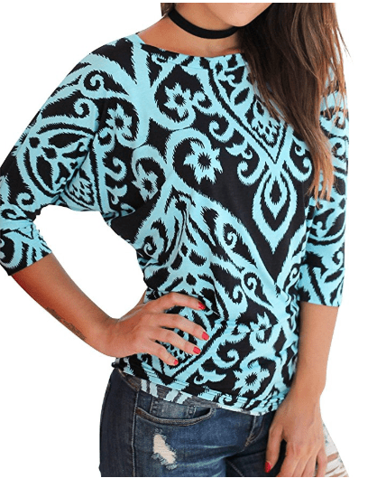 2018-06-14 14_53_17-Amazon.com_ Nlife Women Casual Floral Print Blouse Round Neck 3_4 Sleeve Tunic T