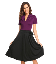 2018-06-14 23_19_53-Misakia Women Elegant V Neck Lace A-Line 3_4 Sleeve Pleated Cocktail Party Dress