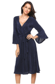 2018-06-14 23_20_38-Misakia Women Elegant V Neck Lace A-Line 3_4 Sleeve Pleated Cocktail Party Dress