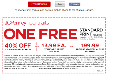 deals finders jcpenney portraits free 10x13 standard print 40
