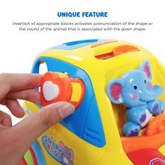 Auto-Sensing Happy Elephant Educational Musical Car Toy with Transforming Animal Block Shapes and Various Sounds 1