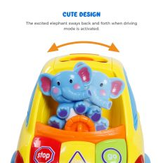 Auto-Sensing Happy Elephant Educational Musical Car Toy with Transforming Animal Block Shapes and Various Sounds 3