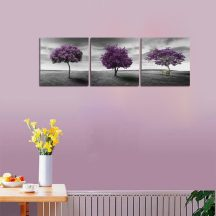 Canvas Wall Art Tree of Life Deep Purple and Gray Lawn 2