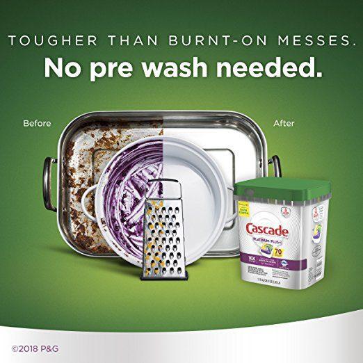 Cascade Platinum Plus Dishwasher Detergent Actionpacs, Lemon, 70 Count 3