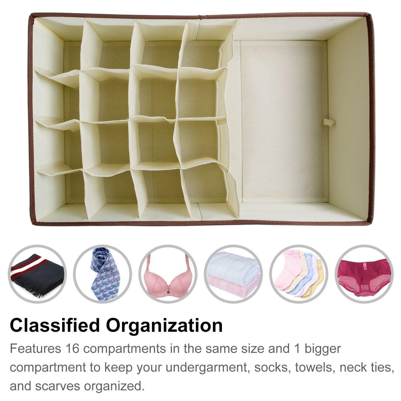 Closet Underwear Organizer Drawer Divider for Bras Socks Ties Scarves, Beige 2