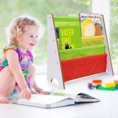 Kids Book Storage Shelf, Bookcase Book Toys Rack Sling for Kids Display Bookshelf (White) 3
