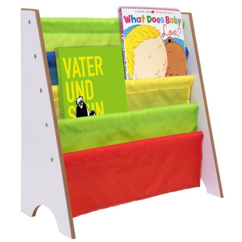 Kids Book Storage Shelf, Bookcase Book Toys Rack Sling for Kids Display Bookshelf (White)
