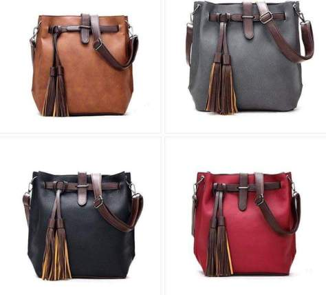 Leather Bucket Bag Crossbody Purse Tassel Small Crossbody Bags for Women Leather