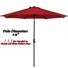 Outdoor Market Umbrella with Push Button Tilt and Crank, Patio Umbrella, 9.6 Ft, Red 1