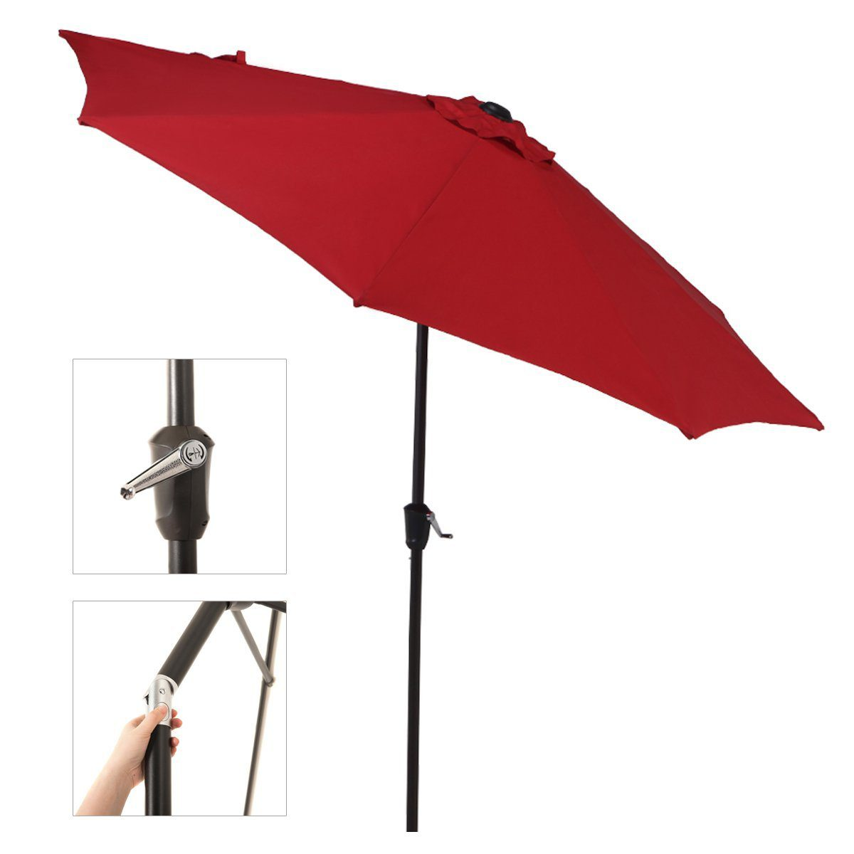 Outdoor Market Umbrella with Push Button Tilt and Crank, Patio Umbrella, 9.6 Ft, Red 2