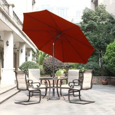 Outdoor Market Umbrella with Push Button Tilt and Crank, Patio Umbrella, 9.6 Ft, Red 3