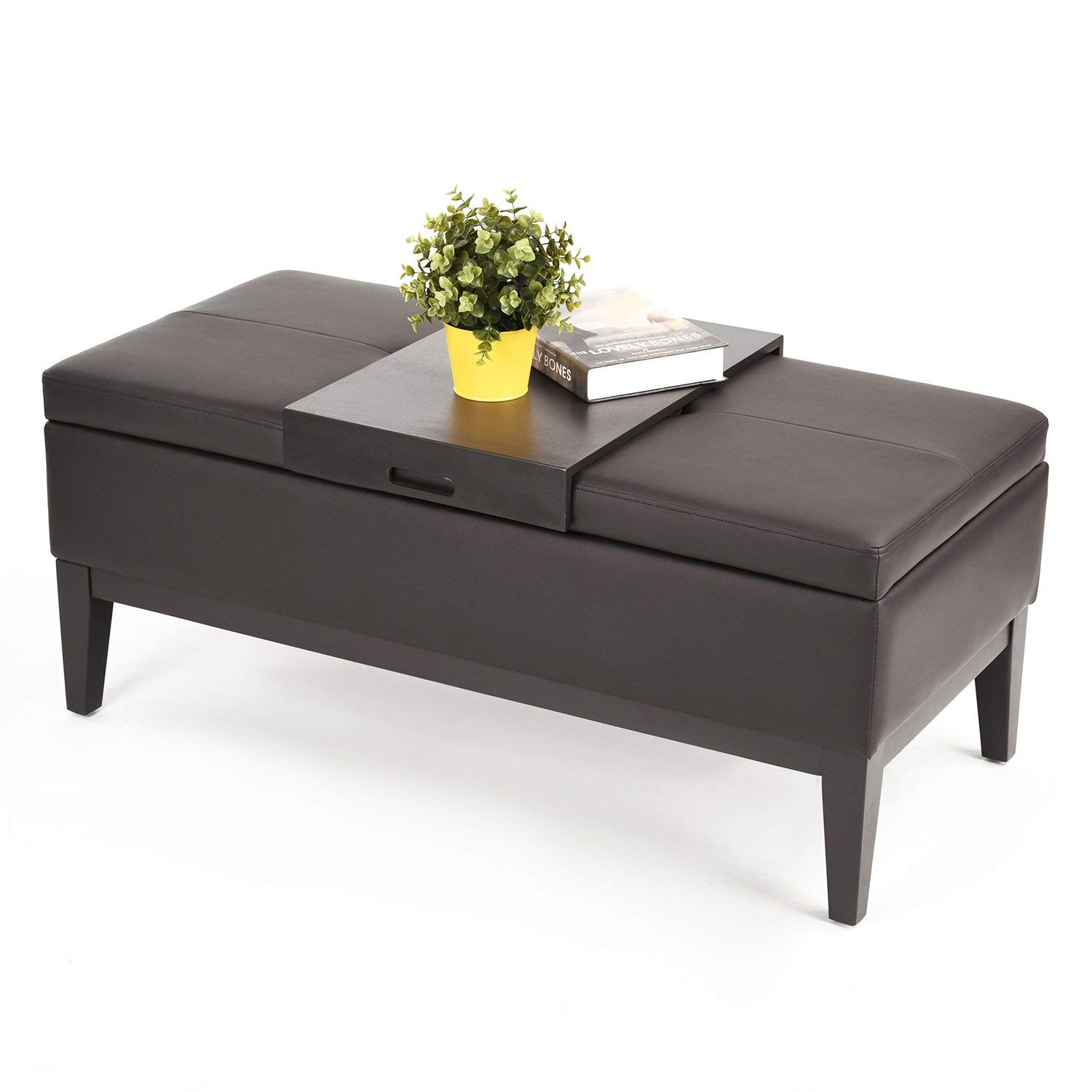 Brown Bonded Leather Storage Bench With Wood Tray 2