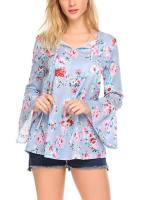 Women V Neck Floral Print Flare Sleeve Loose Blouses Tops