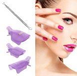 Gel Nail Polish Remover, Hekoy Acrylic Nail Clips Wraps Caps Cuticle Pusher Set for Women Fingernail Toenail 21pcs 1