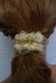 Set of 3 Handmade Hair Scrunchies Women Crystal Rhinestone Hair Elastics Ties 1